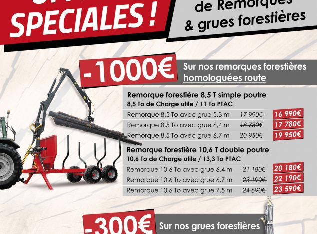 Promotions on our forestry trailers and cranes